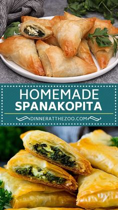 Spanakopita Homemade spanakopita with spinach and feta wrapped up inside phyllo pastry. Phyllo Recipes, Pasta Salad Recipes, Appetizer Recipes, Dinner Recipes, Phyllo Appetizers, Quiche Recipes, Greek Appetizers, Indian Appetizers, Vegetarian Recipes