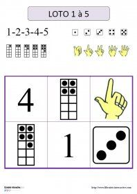 Loto des nombres de 1 à 5 Plusieurs jeux de loto pour l'école maternelle, pour découvrir les nombres de 1 à 5 et leurs différentes représentations (dés, doigts, boîtes et chiffres) lors de jeux collectifs ou en autonomie.