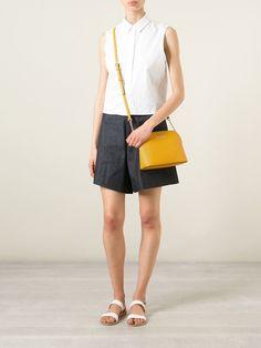 Michael kors Cindy Large Calf-Leather Cross-Body Bag in Yellow (yellow & orange) | Lyst