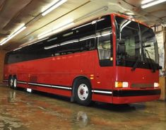 HOT RED PREVOST XLII BUS Motor Coach Shuttle Limo Church. Used Buses for Sale at link. School, Passenger, Greyhound and VW, Volkswagen Buses for Sale.  Flower Power.  Bus conversion or converted, buses turned into homes & Campers. #vwbug, #vwcamper, #volkswagen, #bus