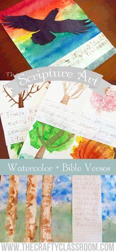 3 Watercolor Tutorials with Scripture suggestions for children. Scripture Crafts, Bible Crafts For Kids, Bible Study For Kids, Bible Art, Preschool Crafts, Art For Kids, Scripture Doodle, Kid Crafts, Bible Activities
