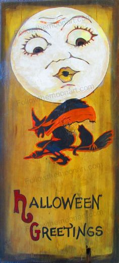Vintage Look Halloween Painting Primitive Board Wood Acrylic Witch & Moon Face