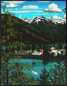 Hughes, Kaslo on Kootenay Lake, oil on canvas, x cm, National Gallery of Canada Christmas Planters, Lake Art, Canadian Artists, British Columbia, Painting & Drawing, Oil On Canvas, Artworks, Coastal, Journey