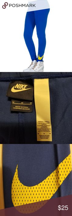 NIKE SPORTSWEAR NIKE CLUB SWOOSH LEGGING NIKE Stretch swoosh legging  Elastic waistband closure. Super stretch fabric for ultimate comfort  No pockets. FIT: Stretch fit FABRIC: 92% cotton, 8% spandex Color: Blue (other pictures turned out darker due to lighting, but this is blue) Nike Pants Leggings