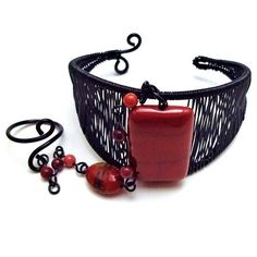 Black Wire Wrapped Cuff Bracelet Ring Combo with Red Mookaite Gemstone | BrainofJen - Jewelry on ArtFire