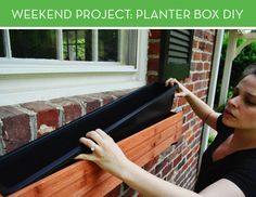 How to Install Window Boxes - Young House Love Hanging Window Boxes, Wood Window Boxes, Window Planter Boxes, Hanging Baskets, Weekend Projects, Backyard Projects, Outdoor Projects, Diy Flower Boxes, Window Box Flowers
