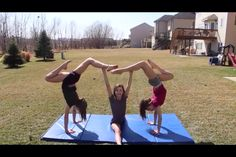 3 person stunts!!! 3 People Yoga Poses, Three Person Yoga Poses, 2 Person Yoga, Group Yoga Poses, Acro Yoga Poses, Yoga Poses For Two, Acro Dance, Partner Yoga Poses, Pole Dance
