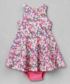 Red & White Floral Sleeveless Dress - Infant, Toddler & Girls