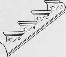 Portion of Open, Bracketed String Stair, with Returned Nosings and Coves, Scroll Brackets, and Bead Moulding. Banisters, Stair Railing, Railings, Stair Brackets, Treads And Risers, Decorative Brackets, Parts Of Stairs, Backyard Garden Landscape, Closet Remodel