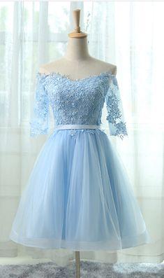 Light Blue Homecoming Dresses Off Shoulder Homecoming Dresses, #Short Homecoming Dress#HomecomingDresses#Short PromDresses#Short CocktailDresses#HomecomingDresses