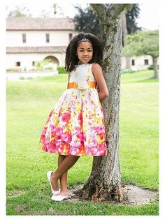 Fushia Flower Printed Cotton Summer Girl Dress
