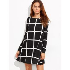 SheIn(sheinside) Grid Print Swing Dress ($16) ❤ liked on Polyvore featuring dresses, black and white, long sleeve swing dress, t-shirt dresses, short-sleeve shift dresses, long-sleeve maxi dresses and t shirt dress