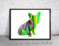 French Bulldog 5 Watercolor Print, Childrens Wall, Art Home Decor, dog watercolor,watercolor painting, French Bulldog art,animal watercolor    Buy