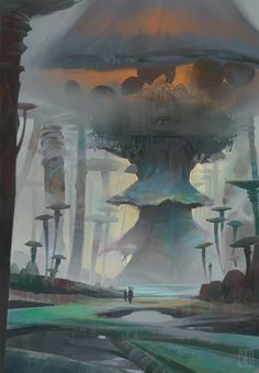 Répertoire Image Fantasy - Page 523 Fantasy City, Fantasy Places, Fantasy World, Fantasy Art Landscapes, Fantasy Landscape, Landscape Art, Art Environnemental, Mystical Forest, Mushroom Art