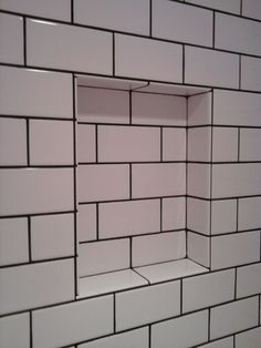subway tile bathroom - this look with grey