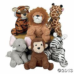 Plush Soft Zoo Animals $18 for a dozen - Balloon weights/centerpieces