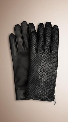 Burberry Black Zip Detail Python And Leather Gloves Best Gloves, Hand Gloves, Python, Black Leather Gloves, Winter Gear, Cool Gear, Burberry Women, Casual, Fashion Accessories
