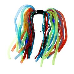 "Flashing Crazy Hair are made up of high quality 14"" ribbons and L.E.D. lights inside a 14"" net tubing and built onto a plastic headband. This is the ultimate headpiece for a night time Fireworks Event."