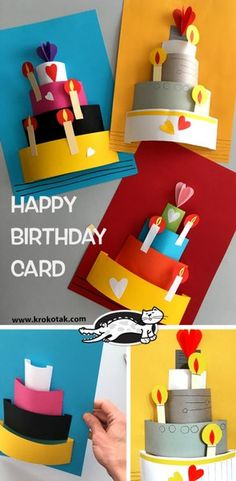 41 Ideas for party birthday diy activities Bday Cards, Funny Birthday Cards, Happy Birthday Card Diy, Birthday Cards For Kids, Origami Birthday Card, Creative Birthday Cards, Simple Birthday Cards, Birthday Cake Card, Birthday Quotes