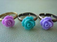Mini Rose Ring Trio  Brass Adjustable Rings  Free US by ZARDENIA, $11.95