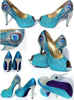 Peacock Heels in Aqua Blue and Purple Glitter Heels with Swarovski Crystals
