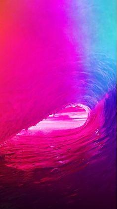 ios9 apple wave rainbow sea ocean red . ' WALLPAPER IPHONE HD'