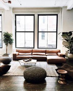 Modern leather sofa:
