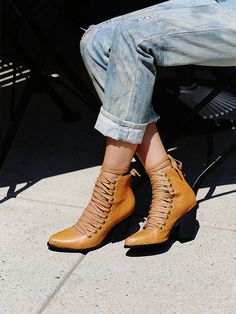 YES + Free People Sidney Lace Up Boot at Free People Clothing Boutique Sock Shoes, Cute Shoes, Me Too Shoes, Lace Up Heels, Lace Up Boots, Boot Over The Knee, Bjd, Bootie Boots, Shoe Boots