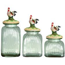 3-Piece Rooster Lid Glass Canister Set