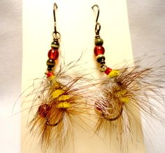 Fishing Fly Earrings  Yellow Brown Red and White by MajaEarrings, $14.00