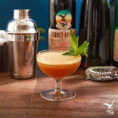 The Forgetfully Fernet: - ½ oz. Fernet-Branca - ¾ oz. Irish Whiskey - 1 oz. Lemon juice - 1 oz. Grated ginger - ½ oz. Simple syrup - 1 Spring of fresh mint for garnish