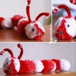Red-and-White Pom Pom Carterpilar Easy Crafts For Kids, Crafts To Make, Art For Kids, Wool Dolls, Yarn Dolls, Pom Pom Crafts, Yarn Crafts, Pom Pom Animals, How To Make A Pom Pom