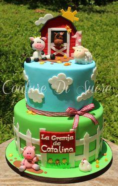 Farm Birthday Cakes, Farm Animal Birthday, Boy Birthday Parties, Birthday Party Decorations, 2nd Birthday, Barn Cake, Farm Animal Cakes, Farm Party, First Birthdays
