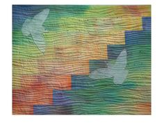 SOLD Quilted Wall Art  Rainbow colors  Doves  by MaterialisticVisions