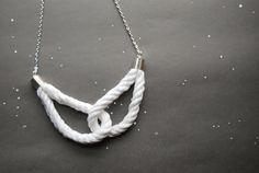 Simply Locked Cotton Rope Necklace - Silver Edition