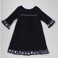 Girls Polka Dot Trim Dress
