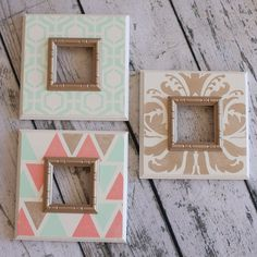 """Set of 3- Metallic Gold, Mint, Coral and White Stenciled Chunky Wood Tabletop Frames 2 1/2"""" Border"""