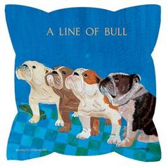 """Bring a touch of whimsy to your sofa or settee with this eco-friendly pillow, showcasing a dog motif.   Product: PillowConstruction Material: Polyester and organic cottonColor: BlueFeatures:   Artwork by Charlotte Holder Bright contemporary colors Polyester is constructed from recycled water bottles  Made in USA  Dimensions: 18"""" x 18""""Note: Insert includedCleaning and Care: Spot clean"""