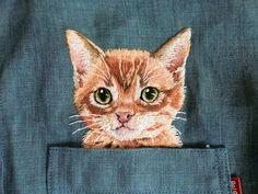 gato bordadas mano en la camisa de chambray lino por ShopGoGo5
