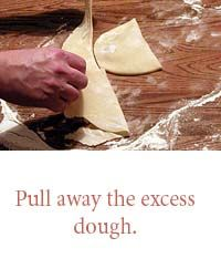 Pull away the excess dough