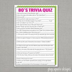 Free Printable 80s Trivia Game … | 80th Birthday | 80s p…