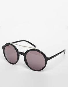 ASOS Round Sunglasses with Brow Bar and Metal Arms
