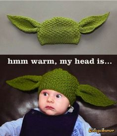 Yoda baby hat! If my knitting skills ever improve I am so going to make this!