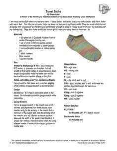 Ravelry: Travel Socks pattern by Diane Lyles Loom Knitting Stitches, Knitting Paterns, Knitting Videos, Knitting Socks, Knitting Projects, Knit Socks, Knitting Squares, Knit Patterns, Knit Slippers Free Pattern