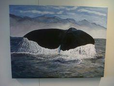 Bultrug walvis in acrylverf
