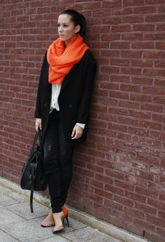Have a great weekend! #outfit , H in Scarves / Echarpes, Zara in Coats, H in Shirt / Blouses, Zara in Jeans, VJ-STYLE.COM in Bags, Zara in Heels / Wedges