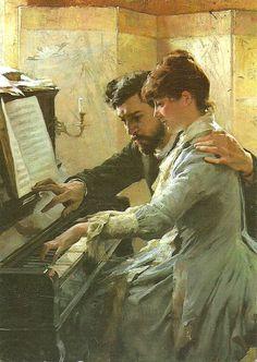 Al piano (1884), obra del pintor naturalista   finlandés Albert Edelfelt (1854-1905).