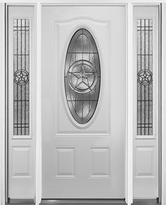 "3/4 Oval Texas Star Prehung Steel Door with Sidelites #60: Texas Star at great price! Beautiful Texas Star prehung steel door. Show your Texan pride for the Lone Star state! 3/0 x 6/8 door with 12"" sidelites. Zinc caming. Pre-hung in primed jambs. Ready to paint."