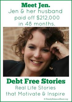 Jen's debt free story - real life debt elimintion stories. #debt Get out of Debt Debt Free
