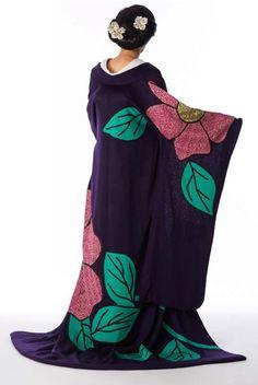 Deep purple and camellia kimono